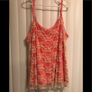 Tank top, lace overlay